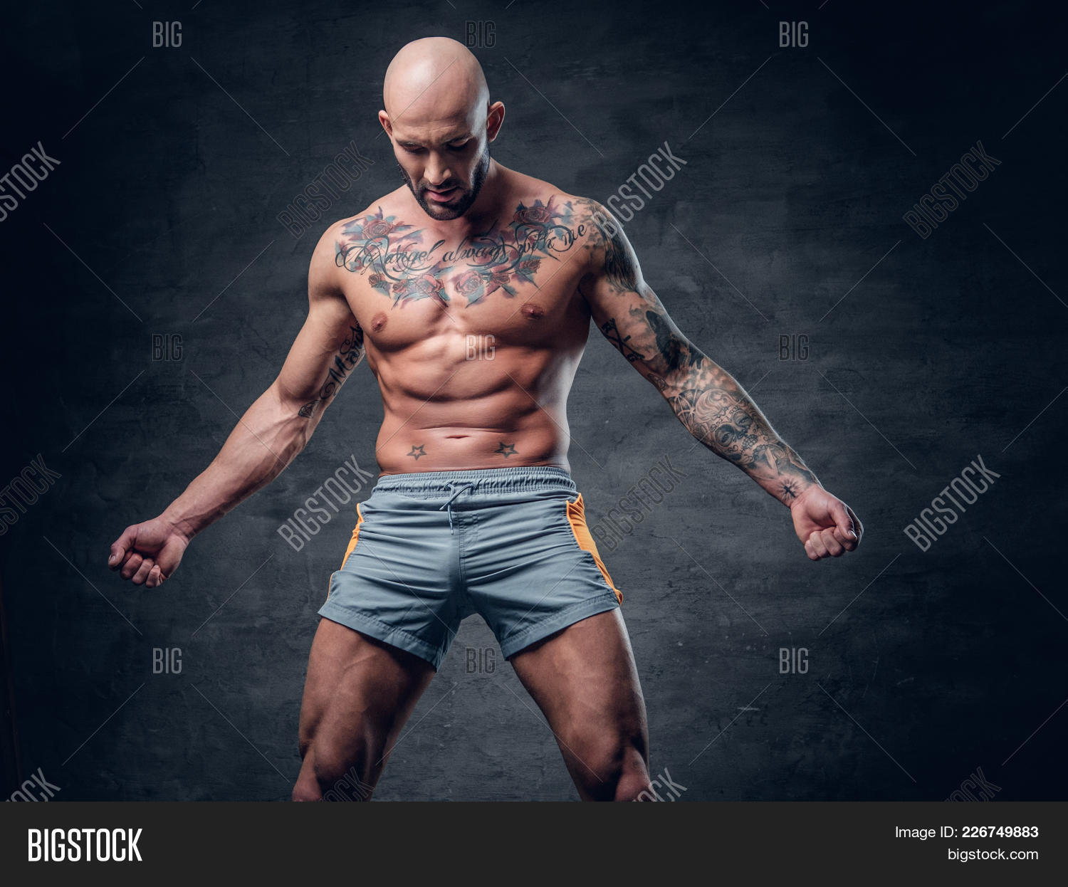 Shaved male dressed