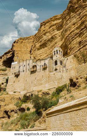Greek Orthodox Monastery Of St.. Hozevit George In The Judean Desert. Canyon Wadi Kelt.