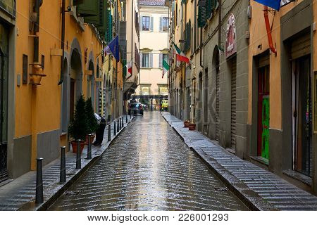 Florence, Italy - March 13, 2013 - Old Street After Rain In Florence, Italy