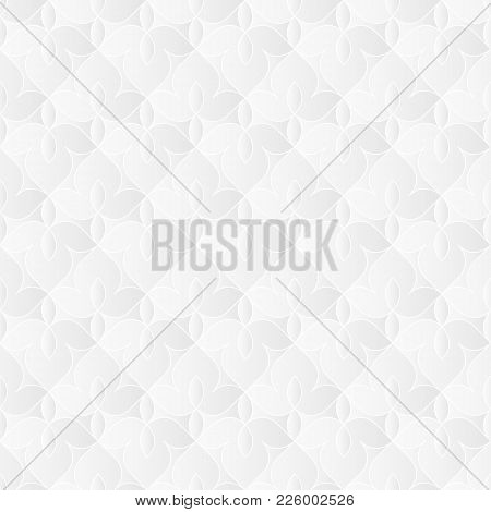 Neutral White Texture. Ornamental Floral Background With 3d Folded Paper Effect. Vector Seamless Rep