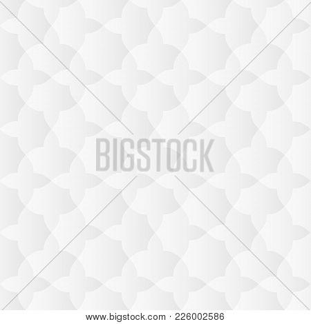 Neutral White Texture. Abstract Oriental Geometric Background With 3d Carving Effect. Vector Seamles