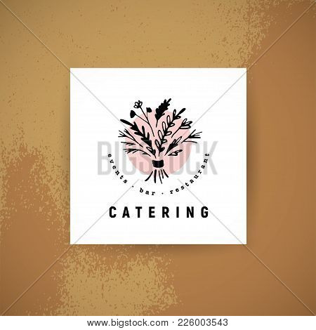 Vector Catering And Restaurant Company Logo Set Isolated On White Background. Hand Drawn Food Elemen