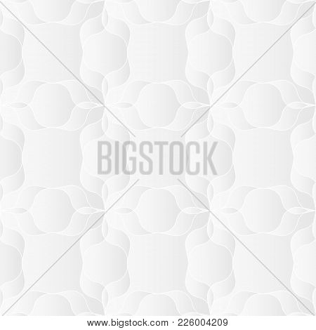 Neutral White Abstract Texture. Decorative Background With 3d Pleated Paper Effect. Vector Seamless