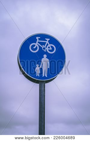 Close Up Of A Cycle Lane And Pedestrians Road Sign