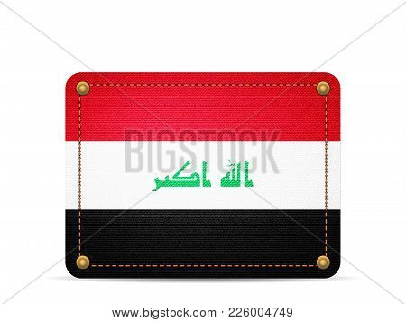 Denim Iraq Flag On A White Background.
