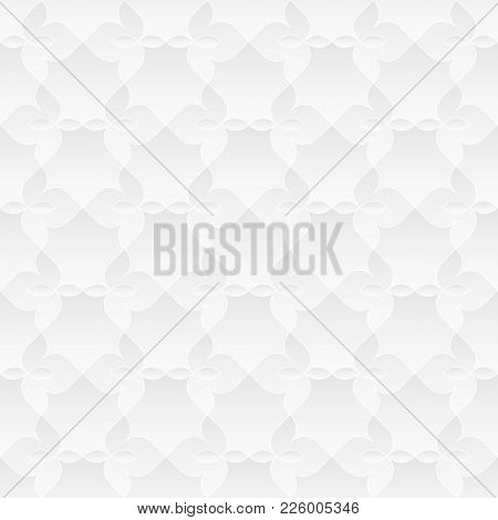 Neutral White Texture. Decorative Floral Background With 3d Tessellated Paper Effect. Vector Seamles