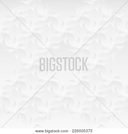Neutral White Texture. Decorative Background With 3d Pleated Paper Effect. Vector Seamless Repeating