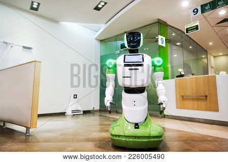 Russia. Moscow. February 10, 2018: A Corporate Robot That Meets And Serves Customers In Sberbank.
