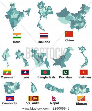 Vector High Detailed Maps And Flags Of East Asian Countries With Administrative Divisions (regions B