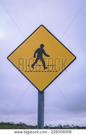 Close Up Of A Zebra Crossing Road Sign