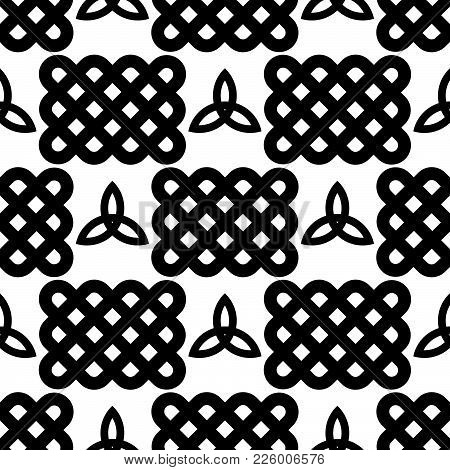 Black And White Celtic Style Seamless Pattern