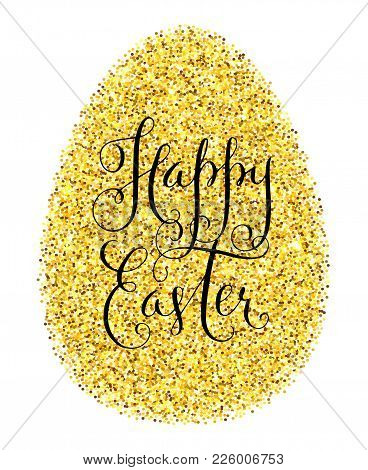 Happy Easter Gold Glitter Greeting Card