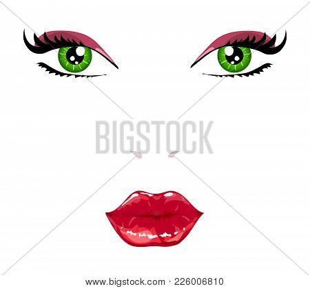 Woman Face Vector Illustration Isolated Over White.