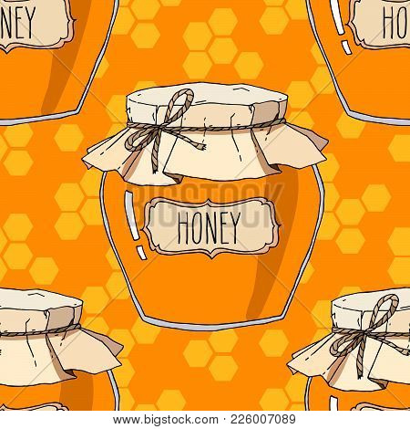Honey Jars And Honeycomb Seamless Pattern. Vector Hand Drawn Background Illustration.