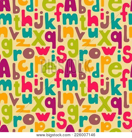 Hand Drawn Letters Seamless Pattern