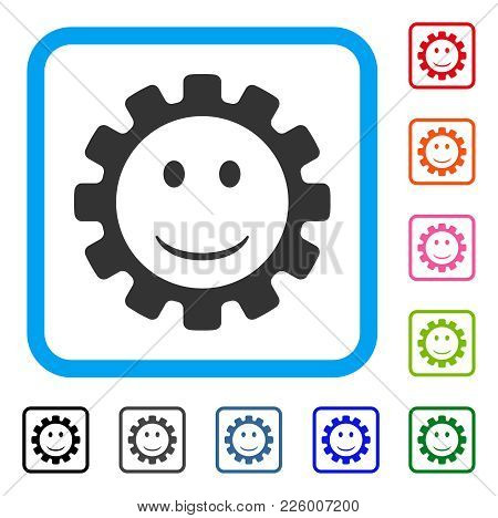 Gear Smile Smiley Icon. Flat Grey Iconic Symbol Inside A Blue Rounded Rectangle. Black, Gray, Green,