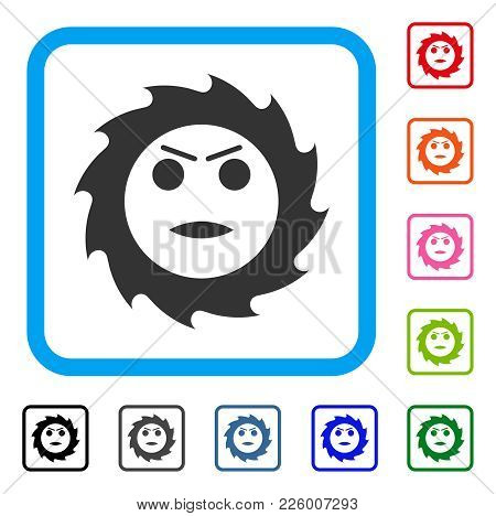 Gear Angry Smiley Icon. Flat Gray Pictogram Symbol Inside A Blue Rounded Rectangle. Black, Gray, Gre