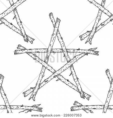 Witchcraft Wicca Sticks Pentagram Seamless Pattern, Hand Drawn Magic Occult Star Symbol. Vector Back
