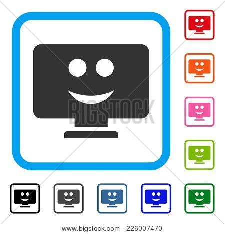 Display Smile Icon. Flat Gray Pictogram Symbol In A Blue Rounded Squared Frame. Black, Gray, Green,