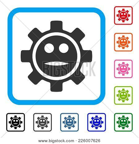 Options Gear Neutral Smiley Icon. Flat Grey Pictogram Symbol Inside A Blue Rounded Frame. Black, Gra