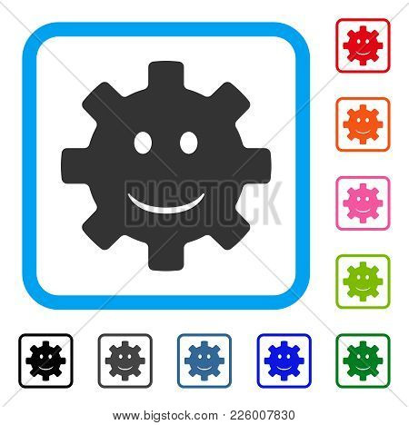 Gear Smile Smiley Icon. Flat Grey Iconic Symbol Inside A Blue Rounded Rectangular Frame. Black, Gray