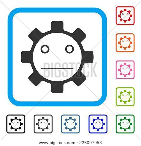 Gear Neutral Smiley Icon. Flat Gray Pictogram Symbol Inside A Blue Rounded Rectangle. Black, Gray, G