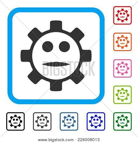 Gear Face Neutral Smiley Icon. Flat Grey Pictogram Symbol Inside A Blue Rounded Frame. Black, Gray,