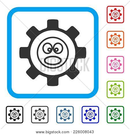 Service Gear Shout Smiley Icon. Flat Gray Pictogram Symbol Inside A Blue Rounded Square. Black, Gray