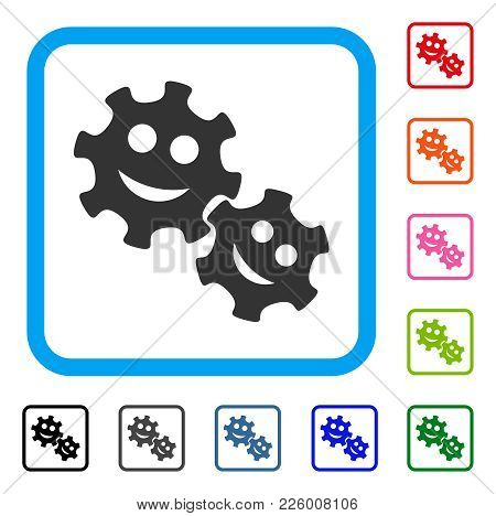 Happy Gears Icon. Flat Gray Iconic Symbol In A Blue Rounded Squared Frame. Black, Gray, Green, Blue,