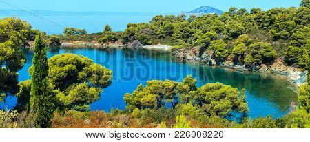 Morning Summer Aegean Sea With Pine Trees On Shore, Small Beaches And Kelifos Island View From Sitho