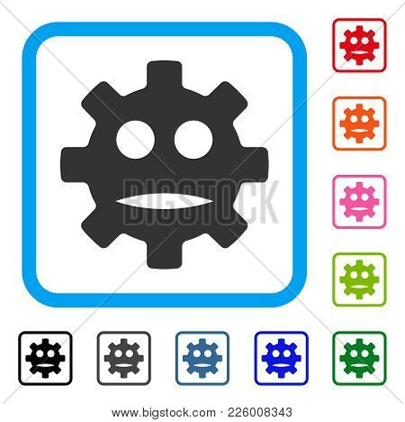 Gear Sad Smiley Icon. Flat Grey Pictogram Symbol In A Blue Rounded Rectangle. Black, Gray, Green, Bl