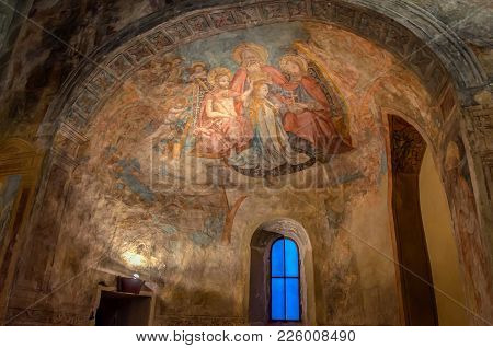 Lindau, Germany - Octomber,28, 2017: Detail In The Old Church Of St Peter, Peterskirche, Bodensee, B