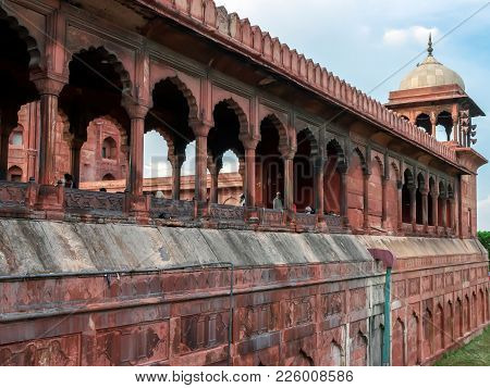 Delhi, India - Julay 29, 2017: Details From Jama Masjid, The Largest Mosque Of Old Delhi In India.