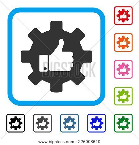 Gear Thumb Up Icon. Flat Gray Pictogram Symbol Inside A Blue Rounded Frame. Black, Gray, Green, Blue
