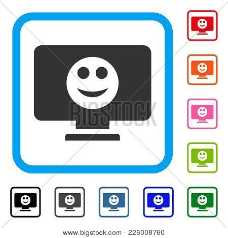 Display Smile Icon. Flat Gray Iconic Symbol Inside A Blue Rounded Frame. Black, Gray, Green, Blue, R