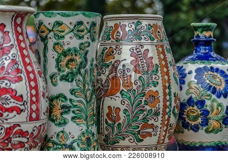 Pottery From Romanian Ceramics, Painted With Specific Models Of Corund, Transylvania