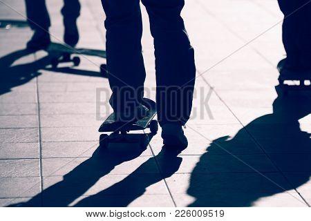 Skateboard Extreme Sport Skaters Park Recreational Activity Concept