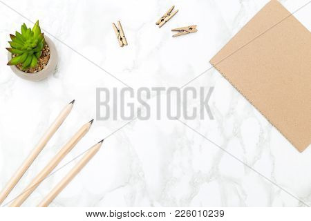 Diary For Notes And Pencils On A Marble Background Background. Desk Minimalist Style