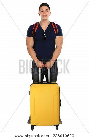 Vacation Holidays Young Man With Luggage Travel Traveling Isolated On White