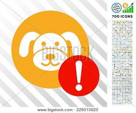 Warning Puppycoin Pictograph With 700 Bonus Bitcoin Mining And Blockchain Symbols. Vector Illustrati