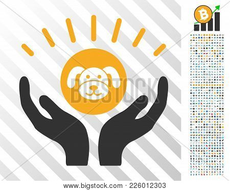 Puppycoin Prosperity Hands Pictograph With 700 Bonus Bitcoin Mining And Blockchain Pictographs. Vect