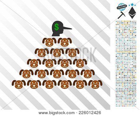 Puppycoin Pyramid Scammer Icon With 700 Bonus Bitcoin Mining And Blockchain Icons. Vector Illustrati