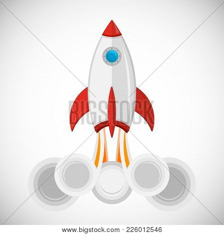 Rocket Launch, Ship. Vector Illustration With 3d Flying Rocket.