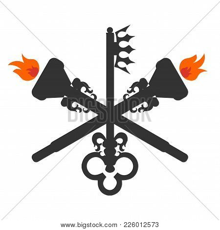 Goddess Hecate Also Known As Triple Goddess Crone Vector Symbol. Hecate Sign.