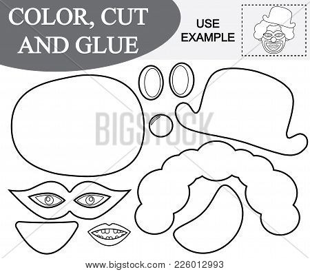 Color, Cut And Paste The Image Of Toothless Face Of Clown. Educational Kids Game.