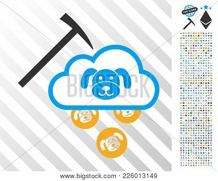 Puppycoin Cloud Mining Pictograph With 700 Bonus Bitcoin Mining And Blockchain Images. Vector Illust