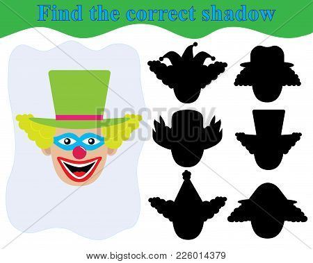 Face Of Clown, Find The Correct Shadow. Kid's Game. Education