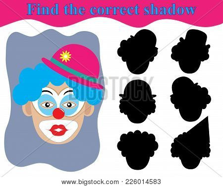 Surprised Clown Face. Children's Play, Find The Right Shadow