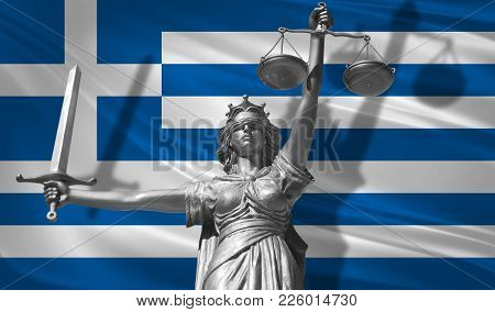 Cover About Law. Statue Of God Of Justice Themis With Flag Of Greece Background. Original Statue Of