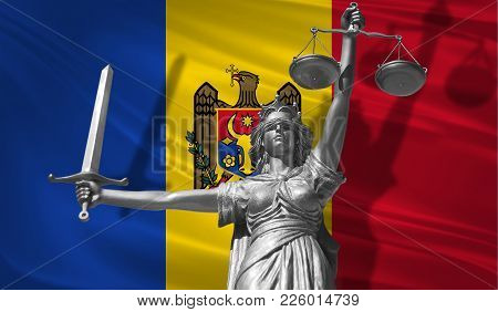Cover About Law. Statue Of God Of Justice Themis With Flag Of Moldova Background. Original Statue Of